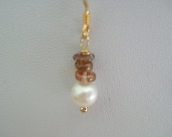Natural White Freshwater Cultured Pearl and Zircon Earrings with Vermeil, Gold Plated 925 Sterling Silver, Earring Wires