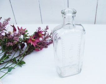 Tablespoons Glass BOTTLE Vintage measurements medicine drugs display prop doctor chemist pharmacy