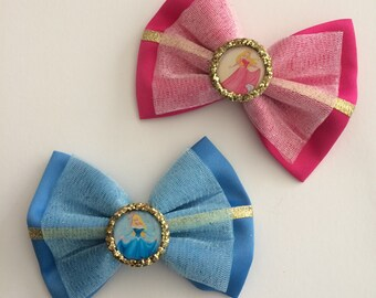 handmade Aurora hair bow, sleeping beauty inspired hair bow, Disney princess hair bow, make it pink, make it blue
