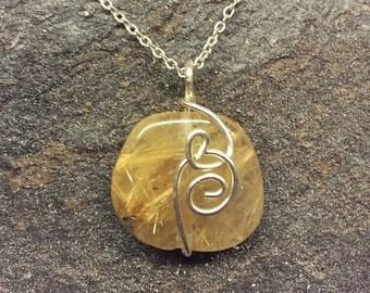 "Rutilated Quartz pendant with 18"" chain"
