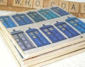 Dr. Who Coasters made with Tardis Fabric, Cork Coasters Embellished with Dr Who Fabric for Geek Gifts