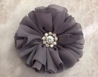 Grey Ballerina flower, gray chiffon flower, rhinestone flower, fabric flower, headband flower, supply flower, ballerina flower, ballerina