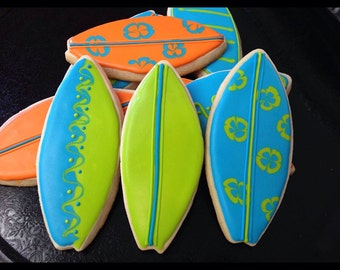 Decorated Surfboard Cookies