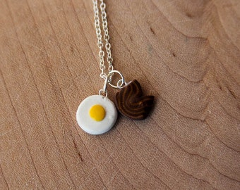 Clay Eggs and Bacon Necklace