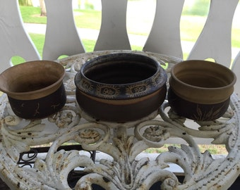 American Pottery 3 Bowls signed Carole Snyder