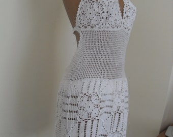 Sexi  delicate white lace dress, hand crocheted. Woven from mercerized cotton.