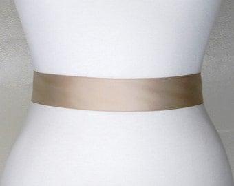 "Champagne Bridal Sash, Plain Satin Wedding Belt, Satin Bridal Belt, Simple Satin Ribbon Wedding Dress Belt, 1.5"" Plain Bridal Sash, LAUREN"