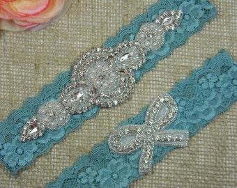Wedding Garter Set, Bridal Garter, Crystal Rhinestone Bow Keepsake Garter and Toss Garter Set, Vintage Teal Blue Lace Garter, Boho Garter
