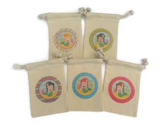 Mermaid Set of 10 Muslin 4x6 Favor Bags: Birthday Party, Beach Goody Bag, Girl Baby Shower, Under the Sea theme, Gift Bags, Custom-Mix&Match