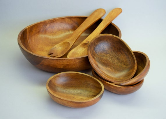 Wooden salad bowl and serving bowls by generationupcycle