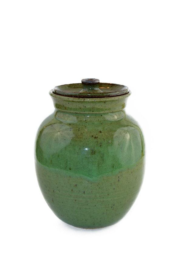 Jar Vintage Green Stoneware Jar Canister jar Pottery Jar