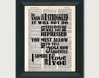 Jane Austen Quote - In Vain I Have Struggled - How Ardently I Admire and I Love You  - Dictionary Page Art - Pride and Prejudice Quote