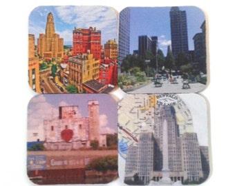 Assorted Set Of Four Rubber Buffalo Coasters, Drink Coasters, Buffalove, Buffalo Souvenir,  Made By Mod.