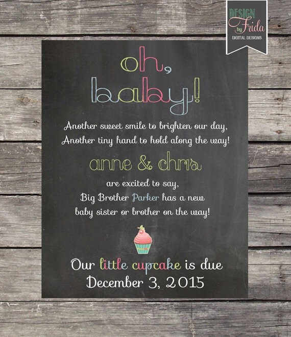 Cute BABY PREGNANCY ANNOUNCEMENT Card or Poster Oh baby – Ways to Announce a Second Baby