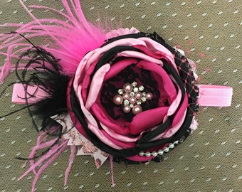 Moulin Rouge Headband- hot pink and Black
