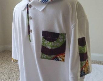 Ankara Men's Polo shirt-White