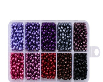 1000pcs Tiny Satin Luster Glass Pearl Round Beads 4mm. Hole Size: 0.8mm. Assorted Colors