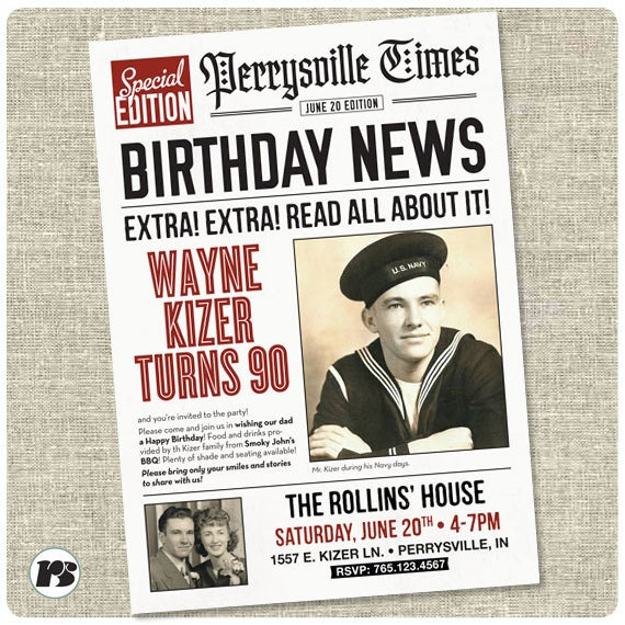 newspaper content for your own birthday