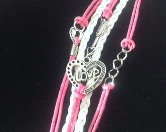 Charm Bracelet, women, teen, wrist, pink, white, leather, girlfriend