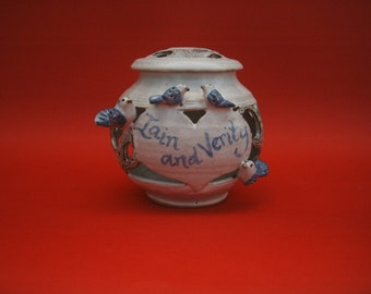 Custom made stoneware pottery Wedding Jar with lovebirds