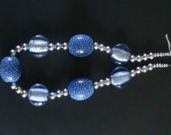 Blue  glass bead and silver bead necklace