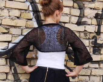 Black Linen Bolero Knitted Natural Linen Shrug Half sleeve Bolero Wedding Bolero Bridesmaid Summer bolero black Cape Cover Up