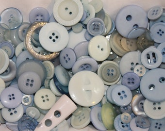 Baby blue buttons, Mix of 100 baby blue buttons, craft buttons, baby buttons, nursery buttons, wholesale buttons, buttons for boys