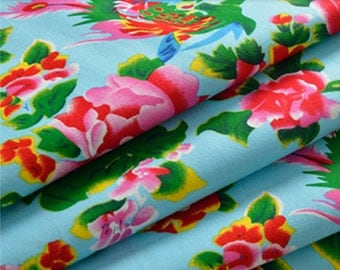 chinese fabric peony vintage red 3m