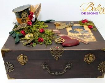 Handmade Steampunk Wooden Storage/Treasure Box