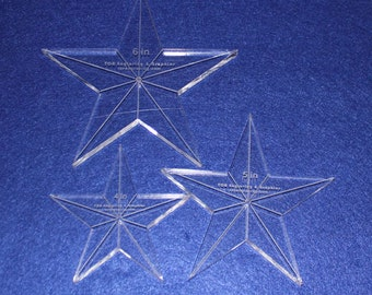 """3 Piece Set Quilting Stars ~3/8""""  Clear Acrylic  4"""", 5"""", 6""""  Great for Long Arm"""