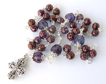 Anglican Prayer Beads - Unbreakable Wire Wrapped Anglican Rosary - Protestant Prayer Beads - Purple Glass Prayer Beads - Christian Gift