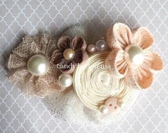 Gold Headband, Flower Girl Hairpiece, Flower Headband, Newborn Photo Prop, Lace Hairpiece, Wedding Headband, Brooch Rosette, Ivory Champagne