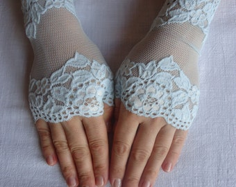 Azure Lace Gloves Azure lace mittens fingerless gloves french lace gloves