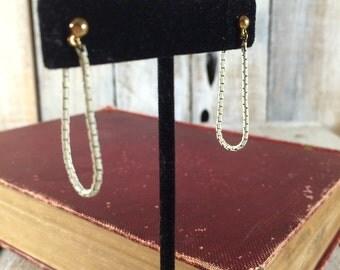 Monet Earrings, White Earrings, Long Chain Earrings, Stud Hoop Earrings, Minimalist Earrings, Dainty Chain Earring, Long Dangle Earrings