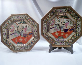 Pair of Exceptional Octagonal Chinese Decorative Porcelain Plates, Hand-Painted Scenes