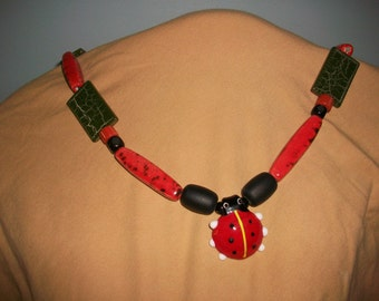 Fun Black and Red Big Necklace