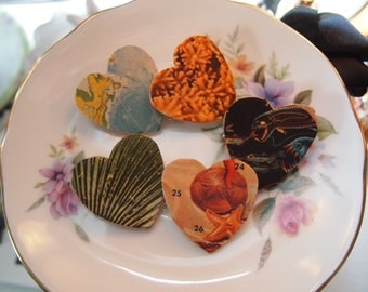 """Set of 5 """"The Sea"""" handmade buttons"""