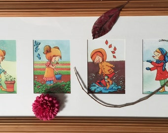 A Girl in Four Seasons Illustrations - set of 4 Postcards