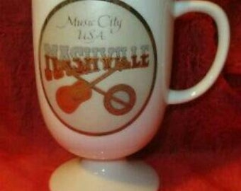 Vintage Nashville Music City USA Coffee tea Cup Mug Guitar footed TN southern