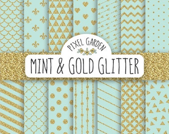 Mint and Gold Glitter Digital Paper. Gold Sparkle Scrapbooking Paper Pack. Polka Dot, Heart, Arrows, Stripes And Chevron.