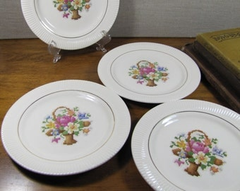 """Vintage Bread and Butter Plates - Set of Four (4) - Salem China - Basket and Flowers """"Cross Stich"""" Pattern"""