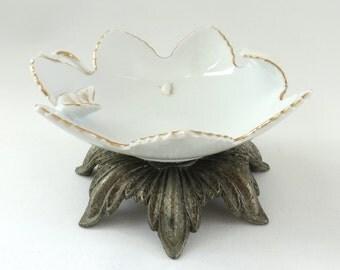 Vintage Butterfly Pedestal Dish, Ceramic Flower on Metal Base