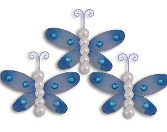 "BLUE Mini Sierra dragonflies - 3"" - set of 3 - craft dragonflies, decorations, nylon dragonfly decor, nursery decor, wedding decor"