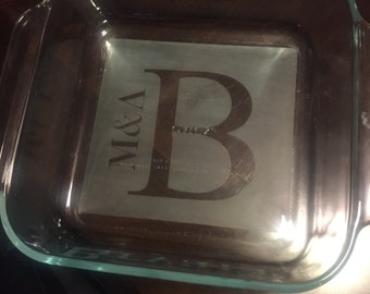 Monogrammed Etched Baking Dish
