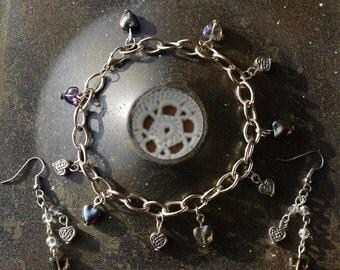 Celtic Heart Bracelet & Earrings, jewellery sets for a gift for her