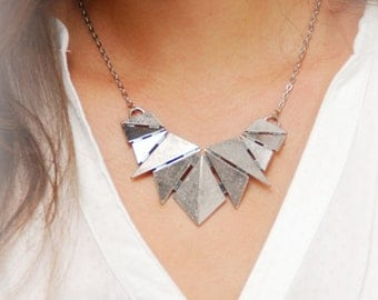 Silver Geometric Necklace, Triangle Art Necklace, Art Deco Necklace