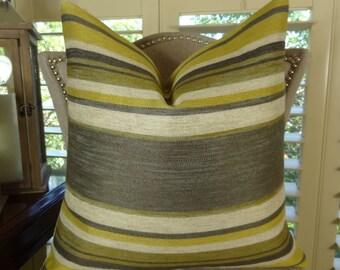Gray Citrine Cream Stripe Pillow Cover - Grey  Pillow - Soho Throw Pillow - Designer Decorative Modern Stripe Pillow - Couch Pillow - 11269
