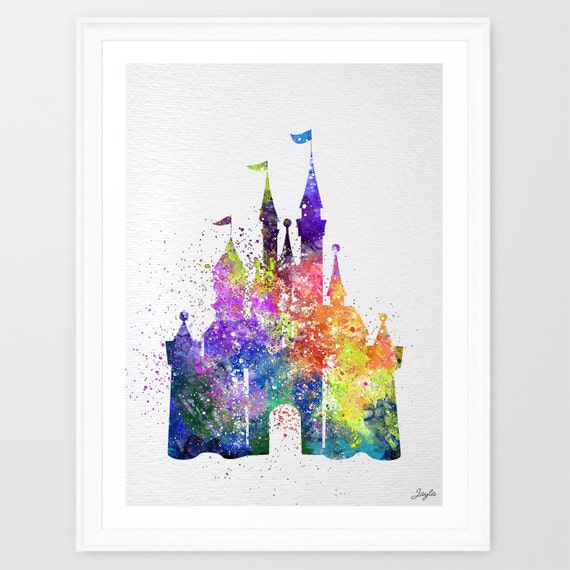 Cinderella disney princess castle watercolor by kidsandhomes for Cinderella castle wall mural