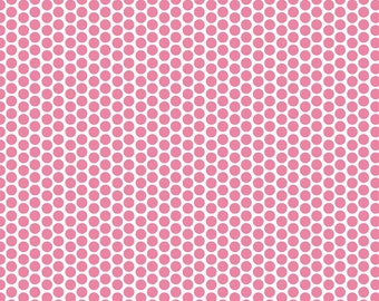 Hot Pink Reverse Honeycomb Dot Fabric by Riley Blake