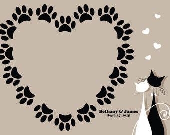 Cat Themed Wedding Guest Book Print